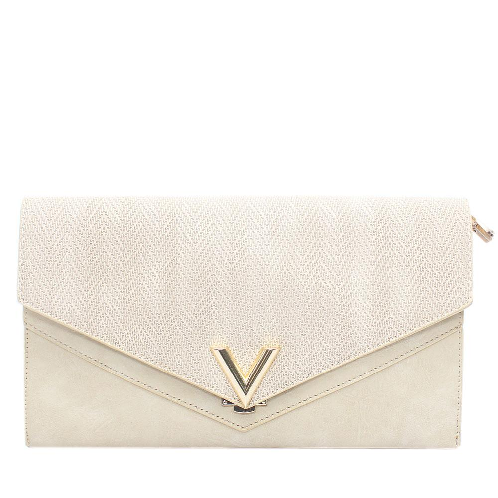 Cream Virtigo Leather Flat Purse