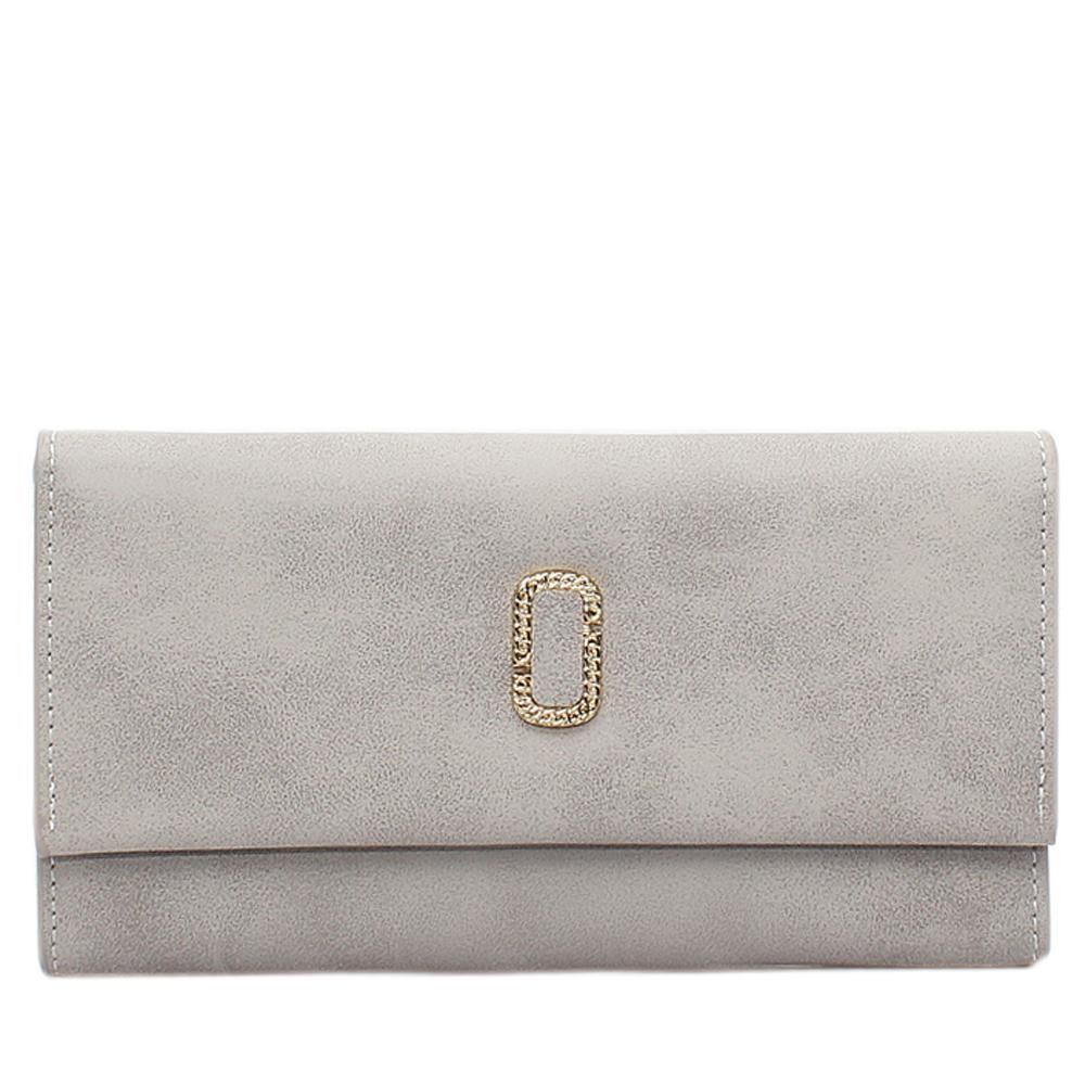 Grey Leather Ladies Wallet