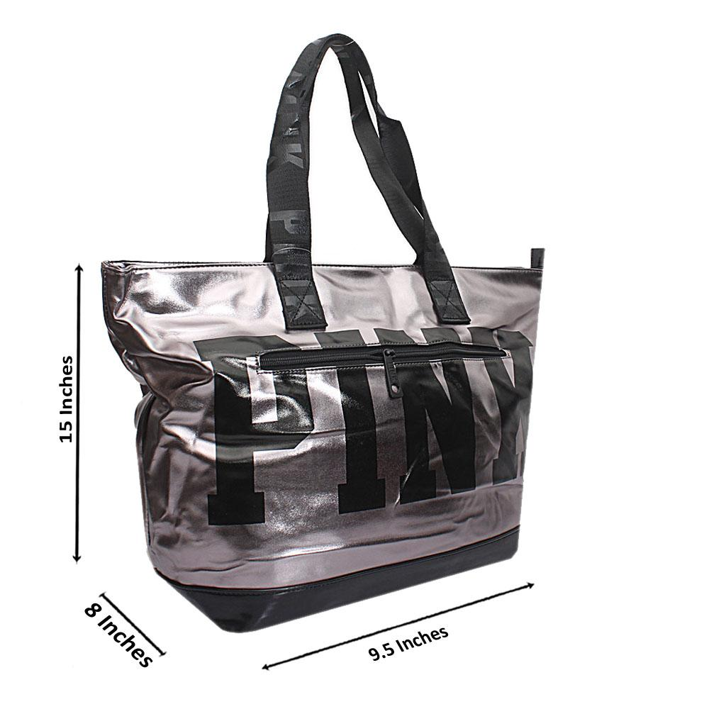 VS Grey Black Patent Leather Duffle Bag