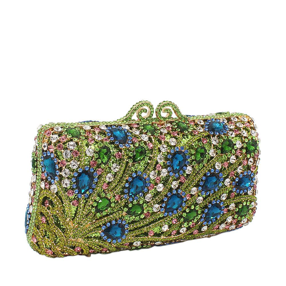 Green Mix Tear Drop Studded Diamante Crystals Clutch Purse