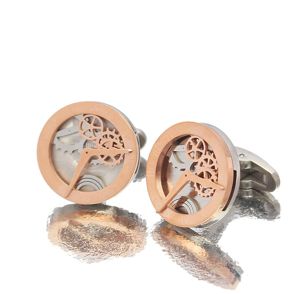 Man Of Steel Rose gold Silver Time Piece Stainless Steel Cufflinks