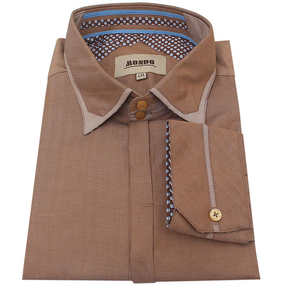 Mondo Brown Cotton L/Sleeve  Slim Fit Men Shirt