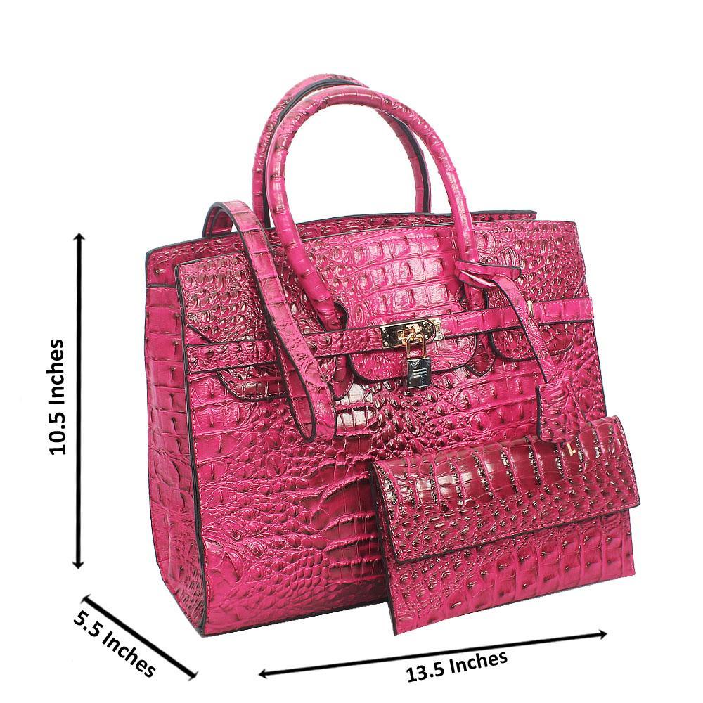 Purple Matte Croc Leather Birkin Tote Handbag
