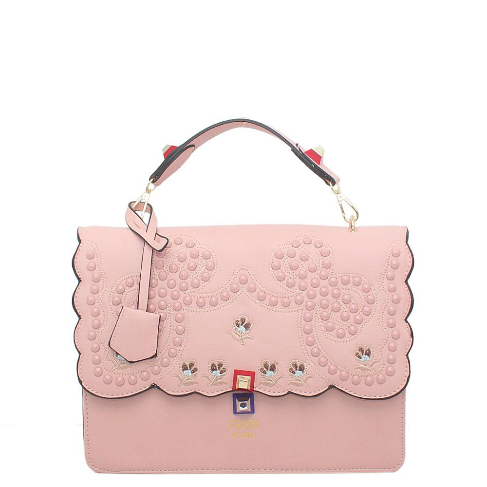 Pink Leather Medium Studded Handbag
