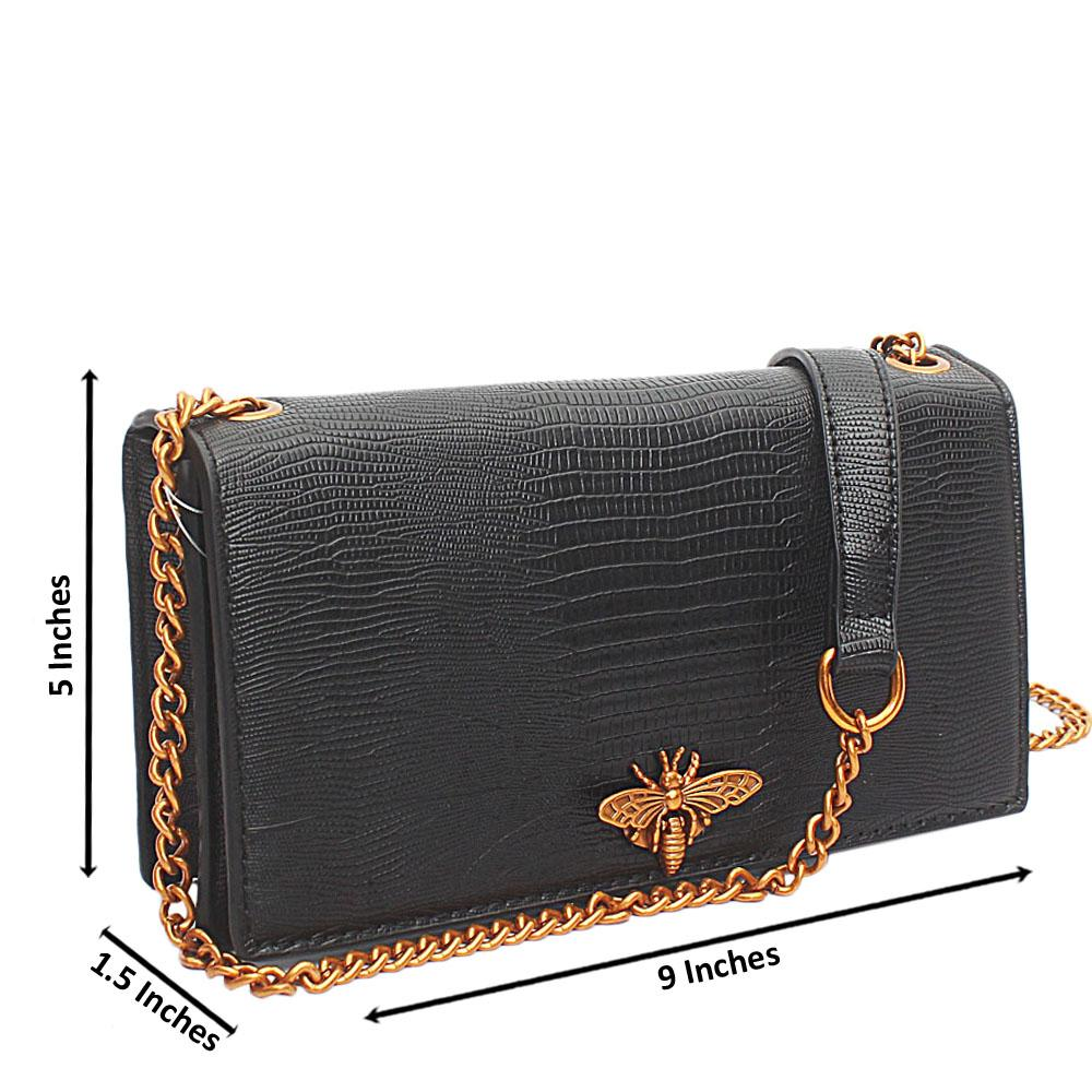Black Croc Leather Crossbody Bag