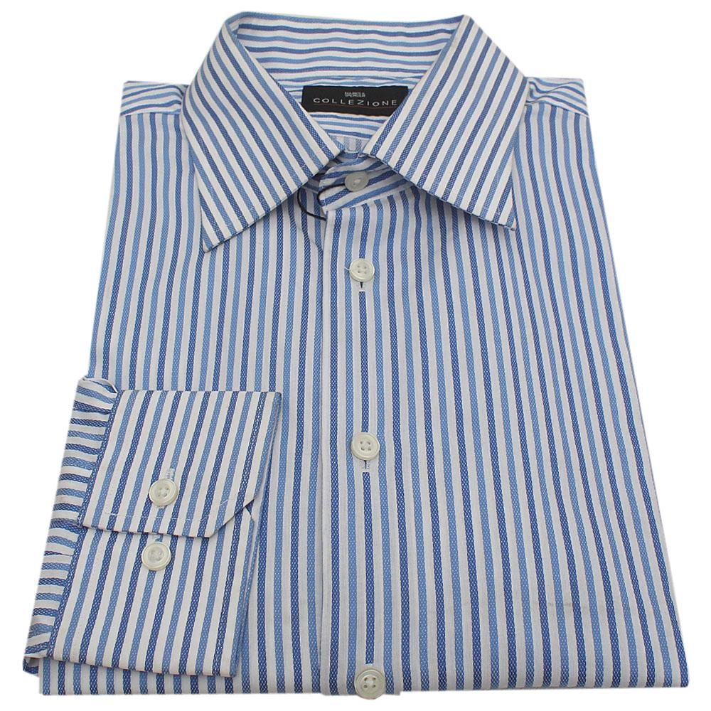 M&S Collezione Blue/White Stripe Cotton Men L/Sleeve Shirt