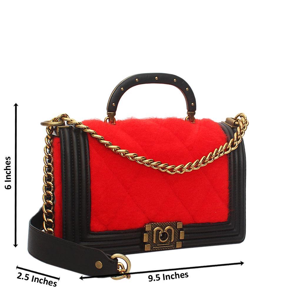 Red Black Furry Leather Small Handle Crossbody Handbag