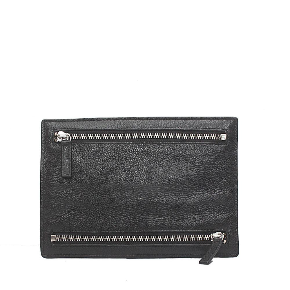 M & S Black Genuine Leather Men Purse