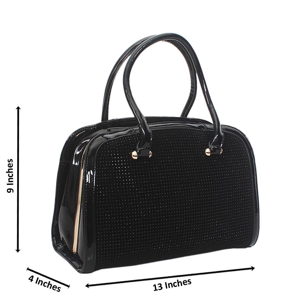 Black Diamond Patent Suede Leather Fully Studded Handbag