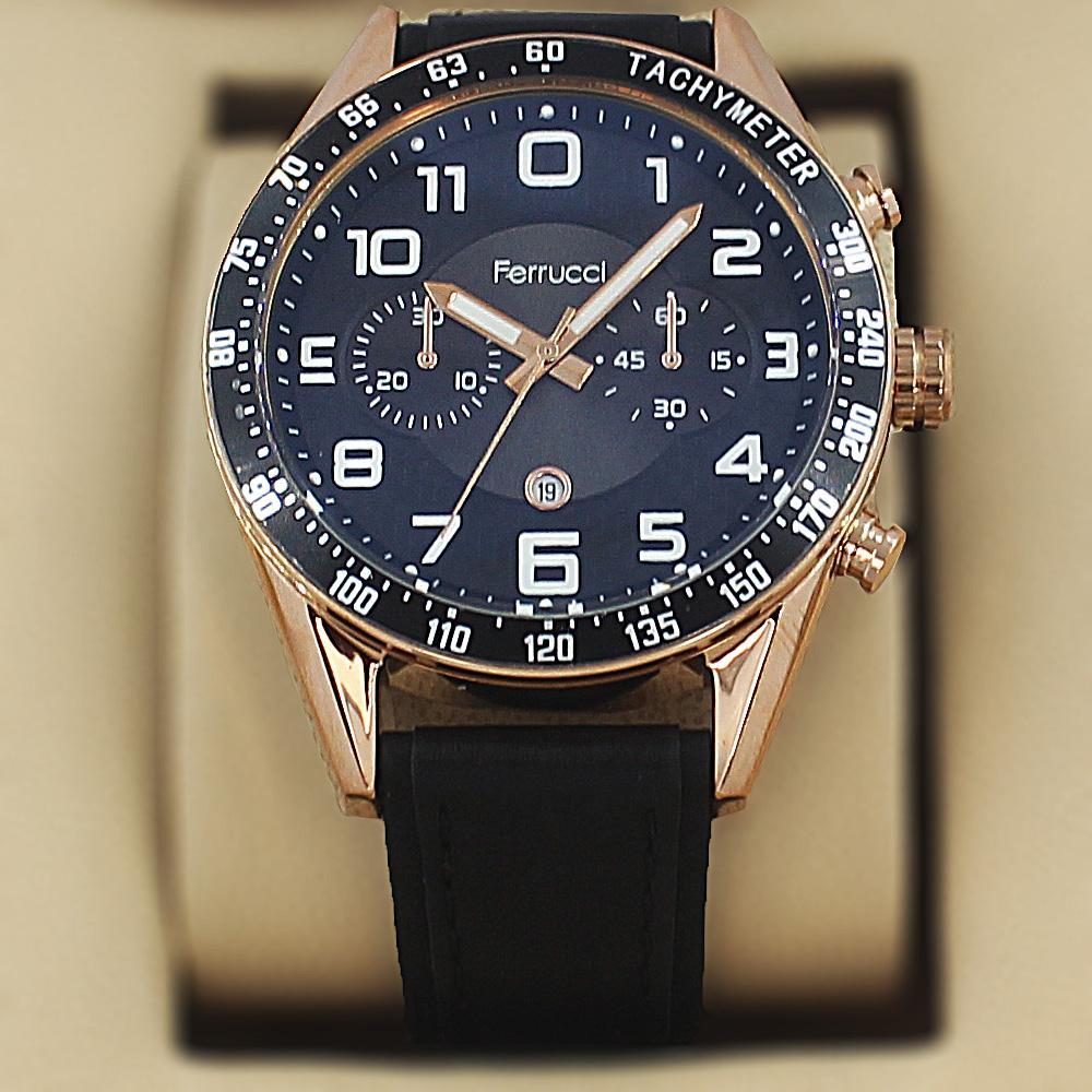 Ferrucci Aleta  Gold Black Leather Sport Series Watch
