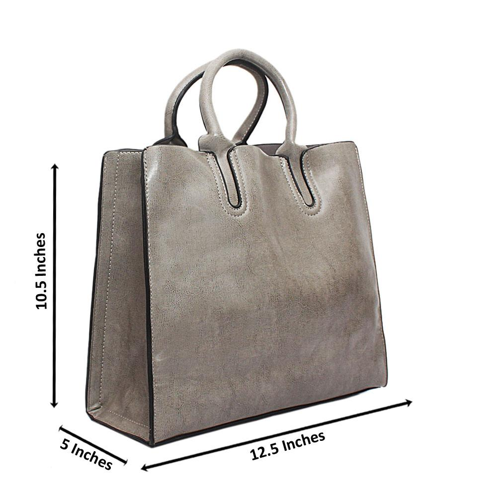 Gray Bahamas Leather Handbag