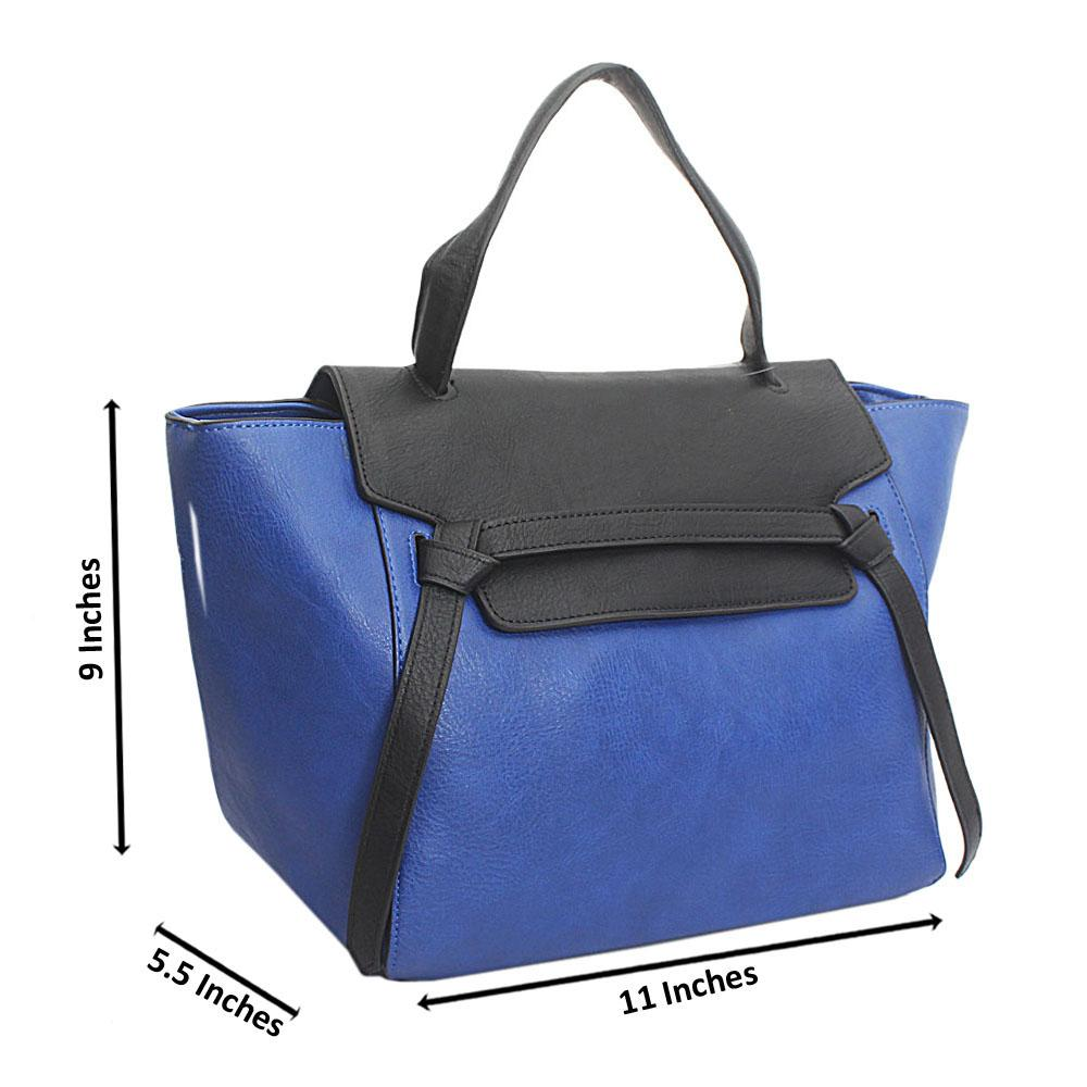 Black Blue Leather Medium Belt Handbag Wt Minor Cut
