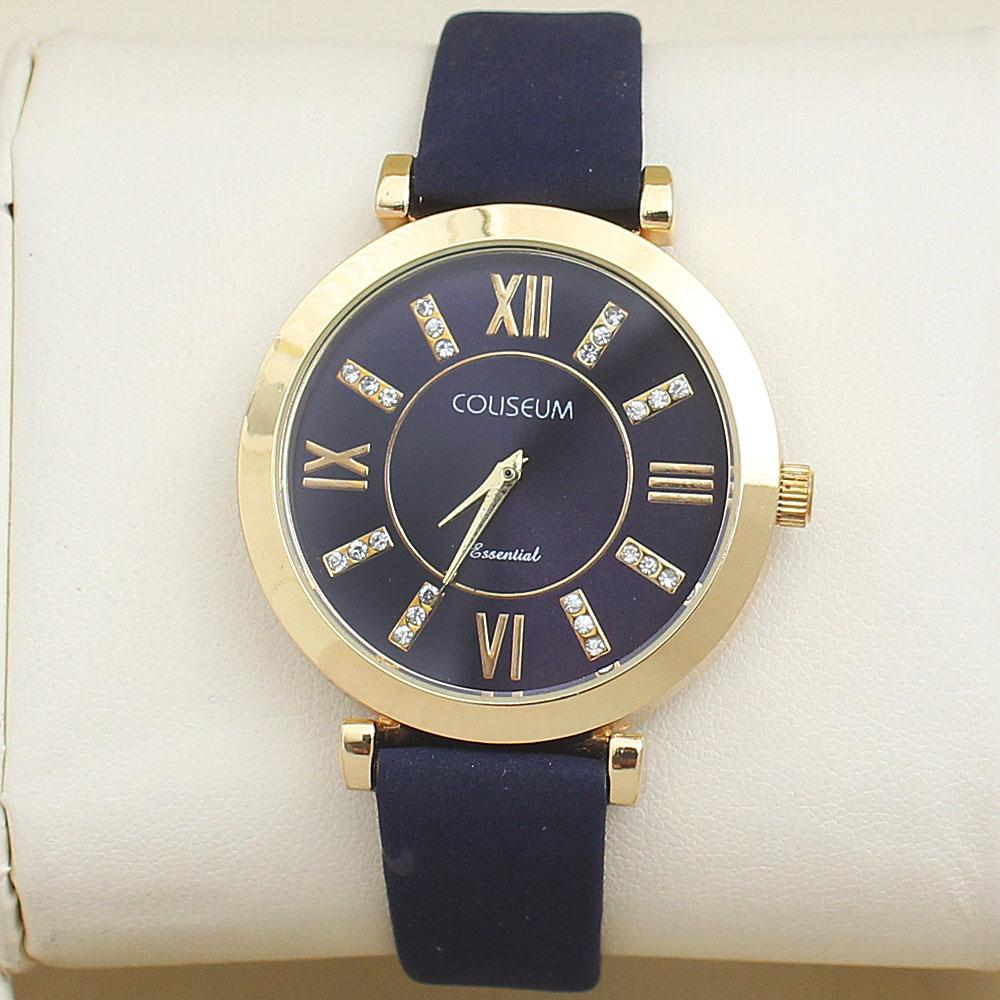 Coliseum Exotic Navy Suede Leather Ladies Fashion Watch-