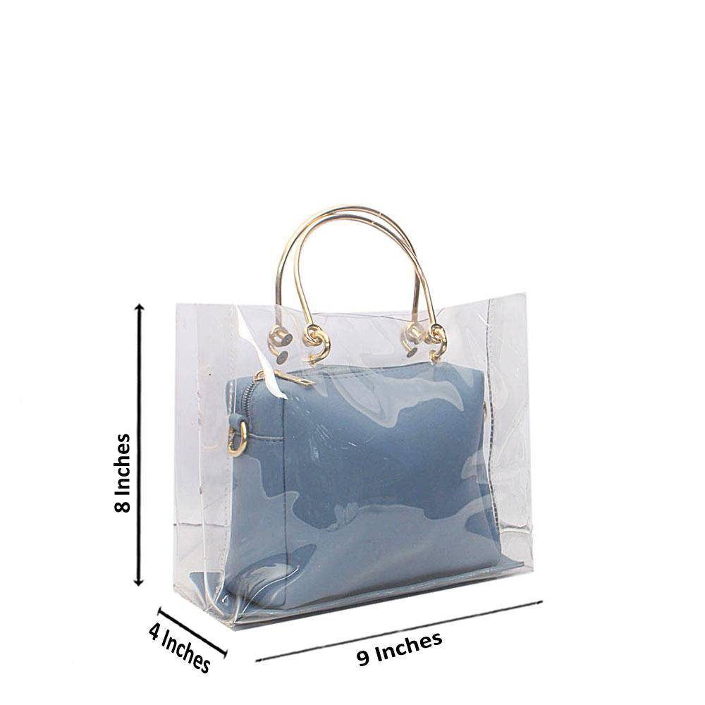 Blue Transparent Ice Rubber Leather Mini Handbag