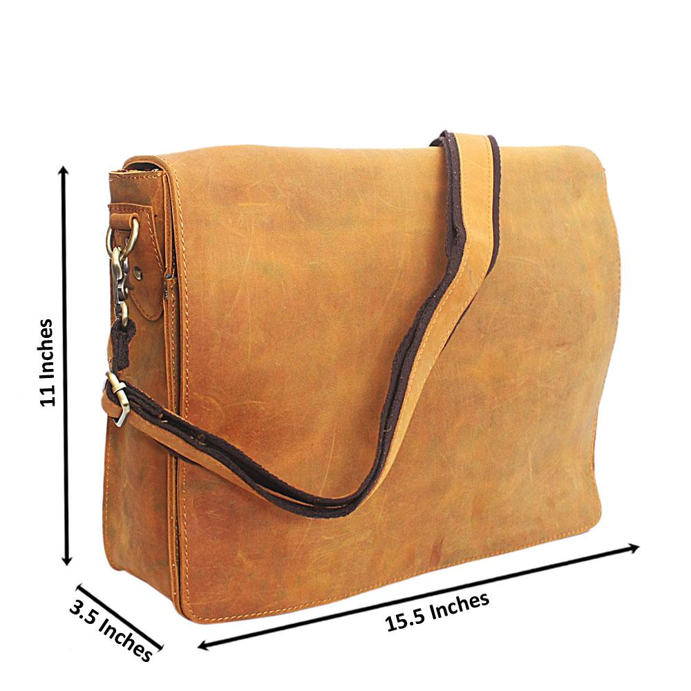 Yellowish Brown Flip Hand Made Leather Messenger Bag