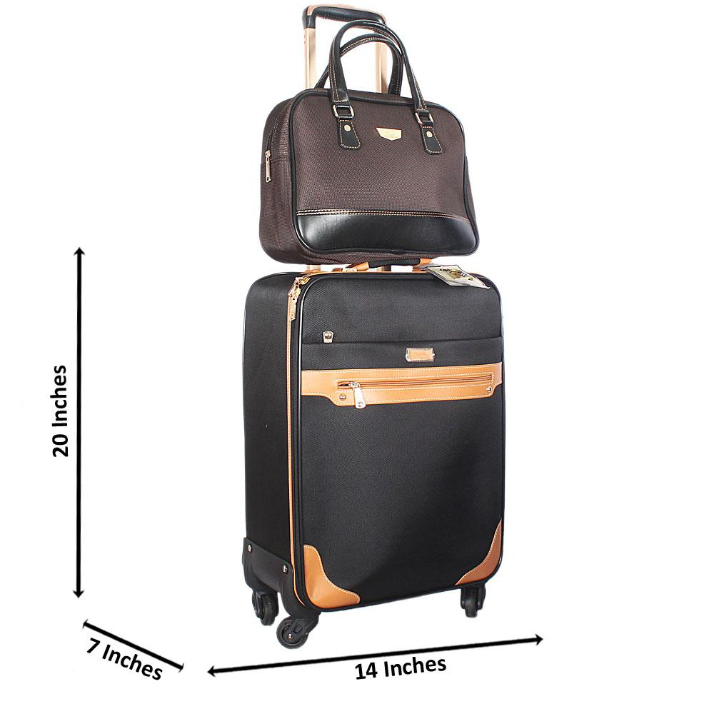 Black Brown Mix 20 Inch Cordura Fabric 2 in 1 Carry On Luggage Wt Lock
