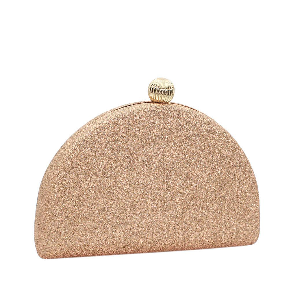 Gold Half Moon Shimmering Clutch Purse