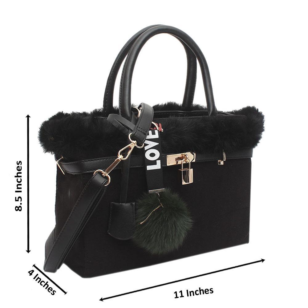 Black Furry Medium Handbag