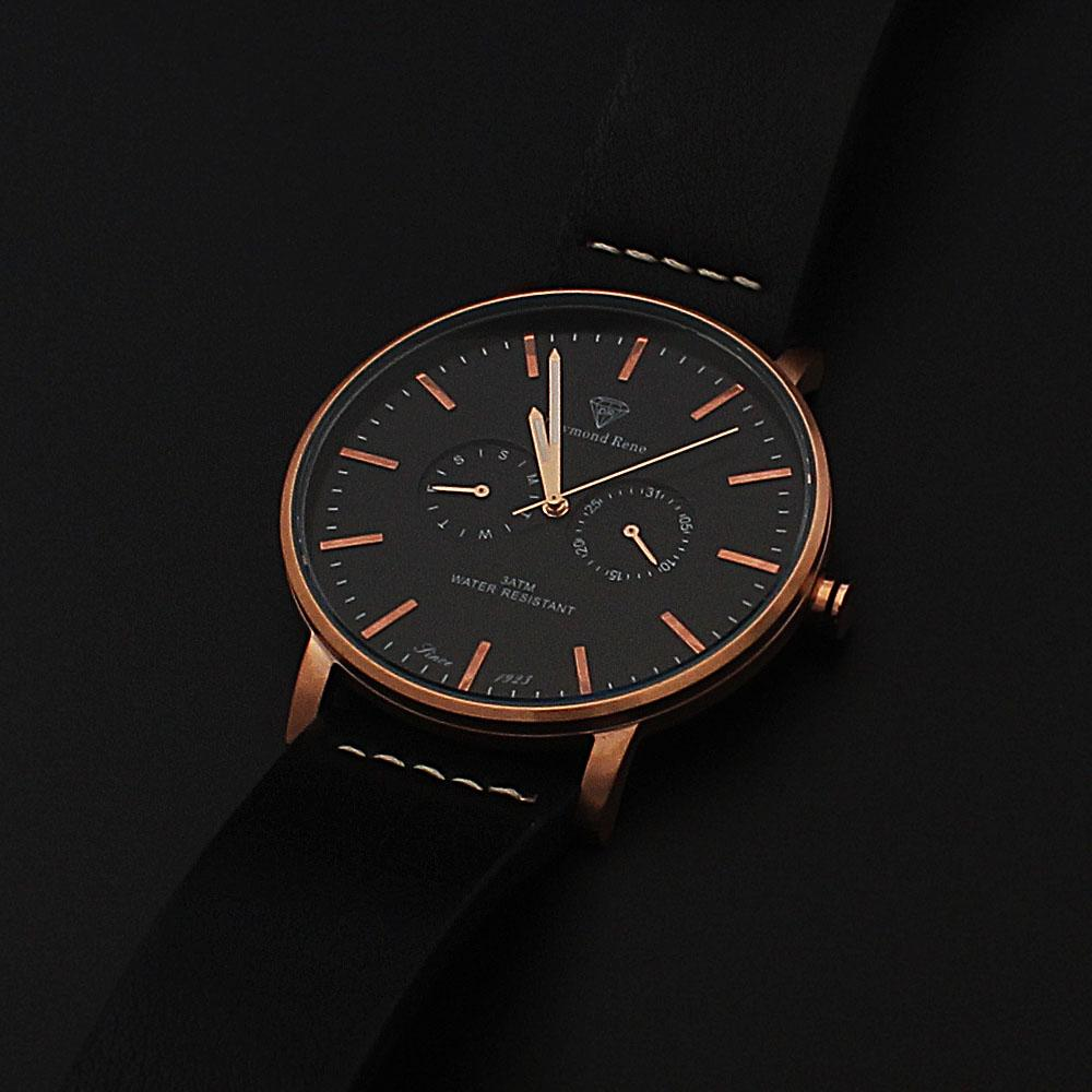 Daymond Rene Gold Black Leather Chrongraph Coin Watch