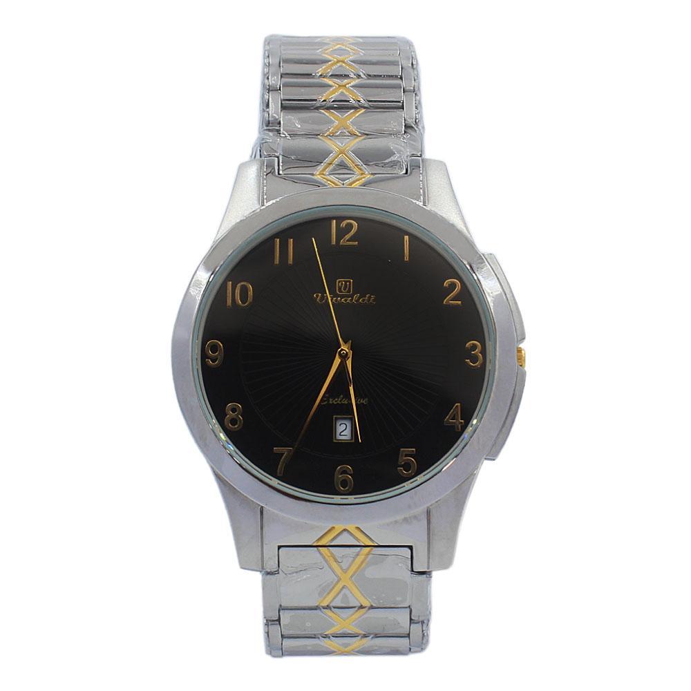 Silver Black Aurelio Stainless Steel Fashion Watch