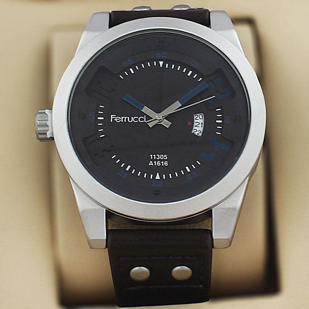 Ferrucci Olympus Coffee Leather Fashion Series Watch
