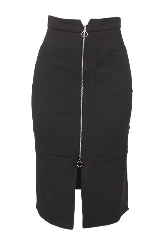 Kinzi Black Ladies Stretch Skirt