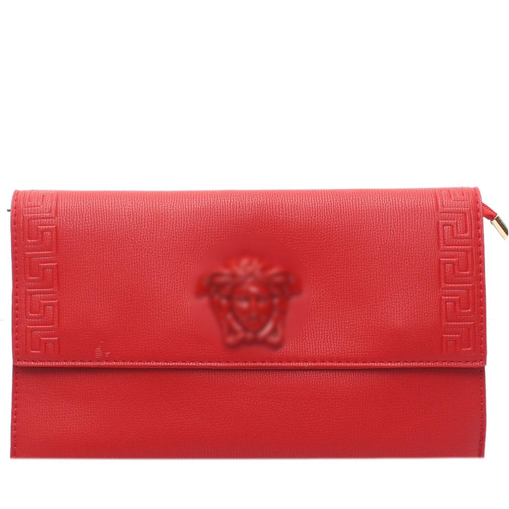 Red Adoline Leather Flat Purse
