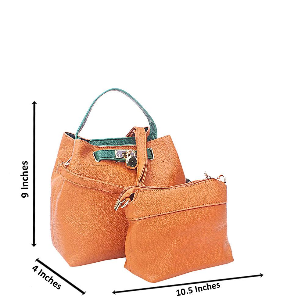 Brown Green Pebbled Leather Small Handbag