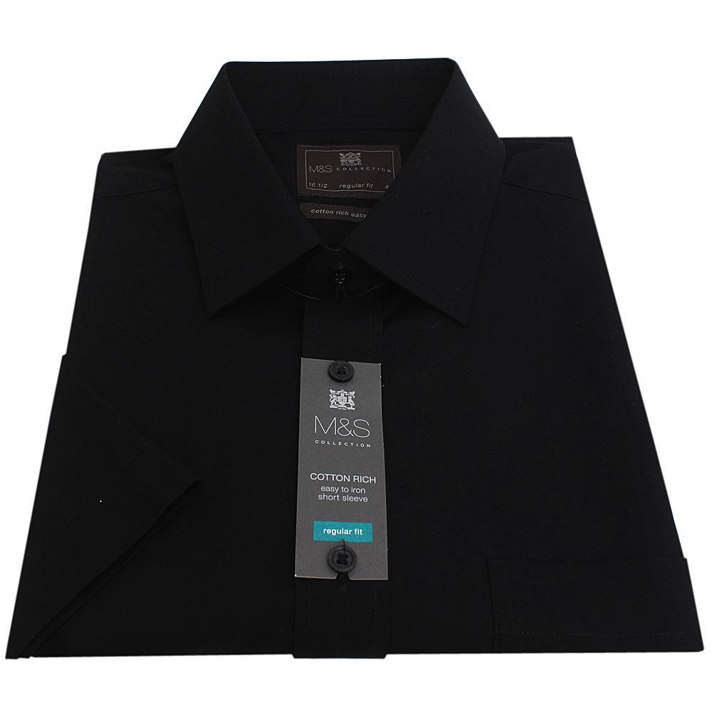 M&S Black Regular Fit S/Sleeve Men Casual Shirt Sz