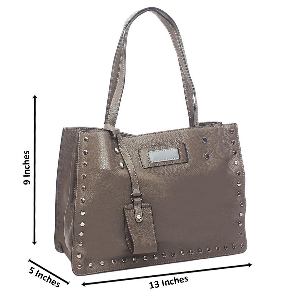 Grey Studded Shoulder Tuscany Leather Handbag