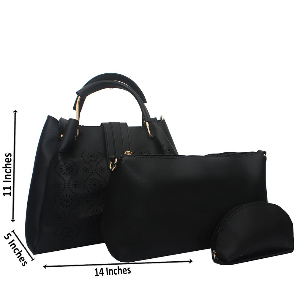 Black-Etched-Leather-Metal-Handle-3-in-1-Handbag