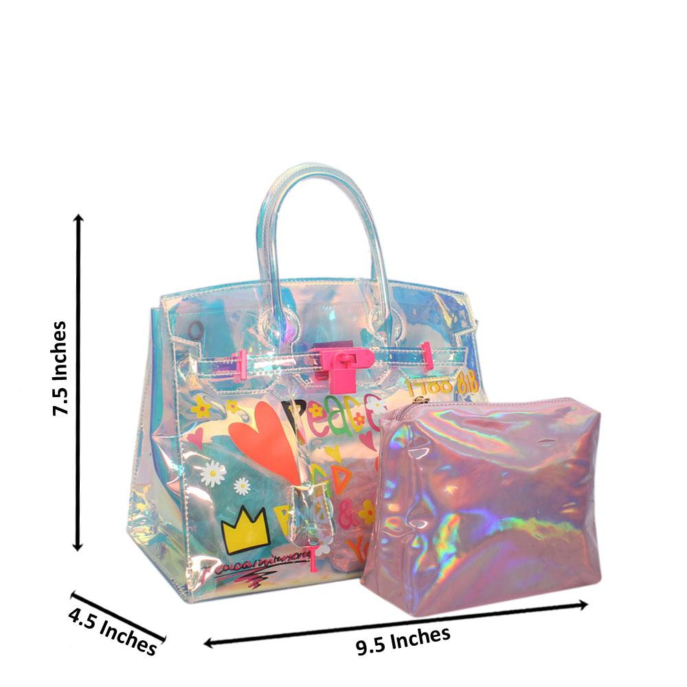 Crystal Multicolor Reflective Mini Rubber Handbag