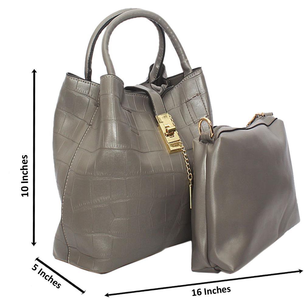 Gray Aniston Croc Leather Tote Handbag