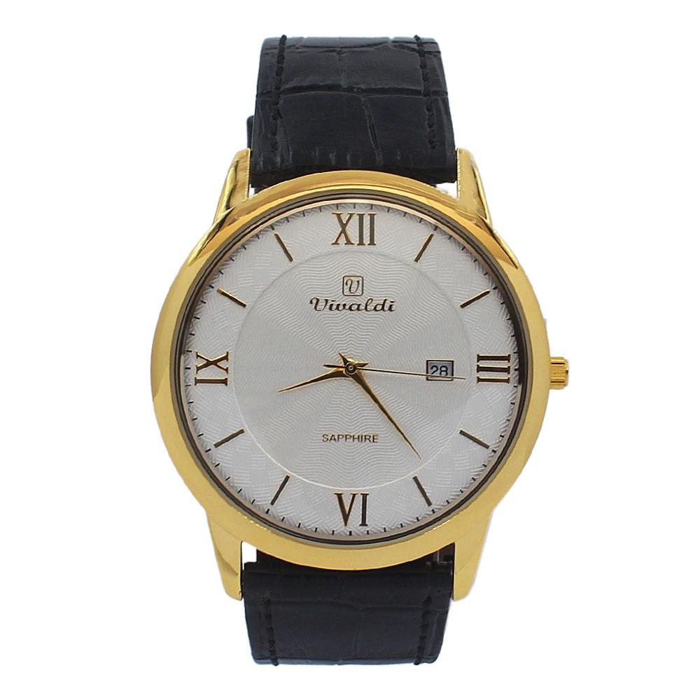 Black Gold White Face Vintage Leather Flat Watch