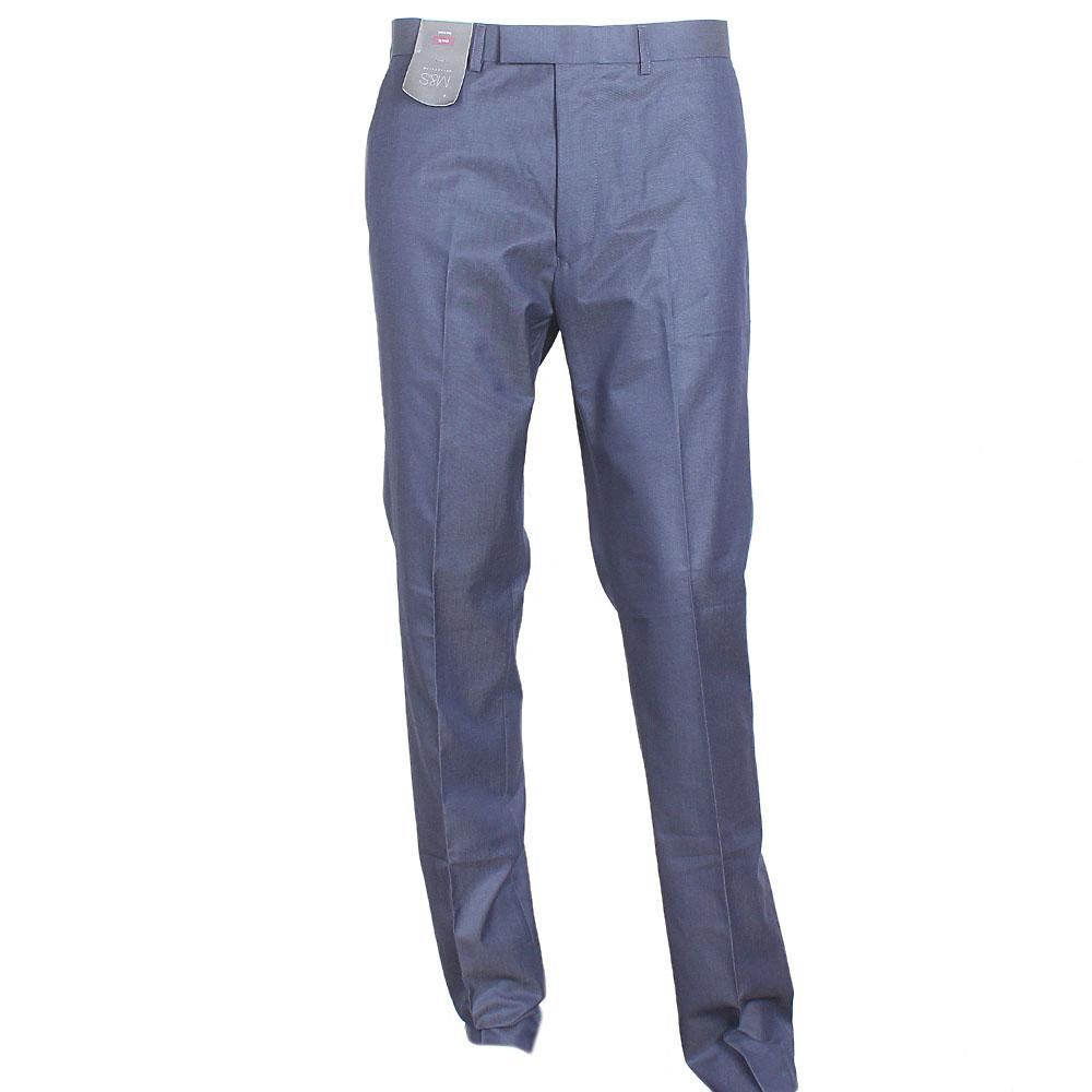 M&S Collection Blue Straight Cut Men Trouser