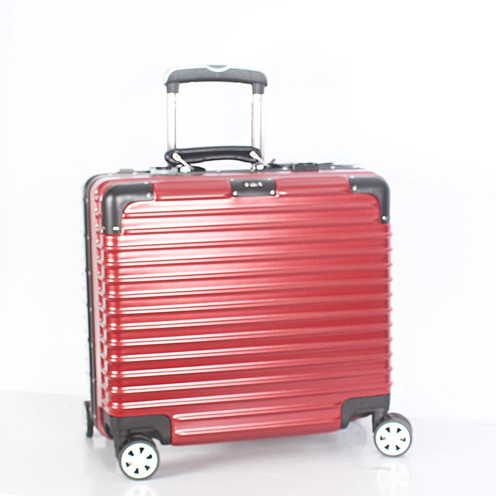 Wine 14 Inch Hard Shell 4 Wheels Spinners Pilot Suitcase