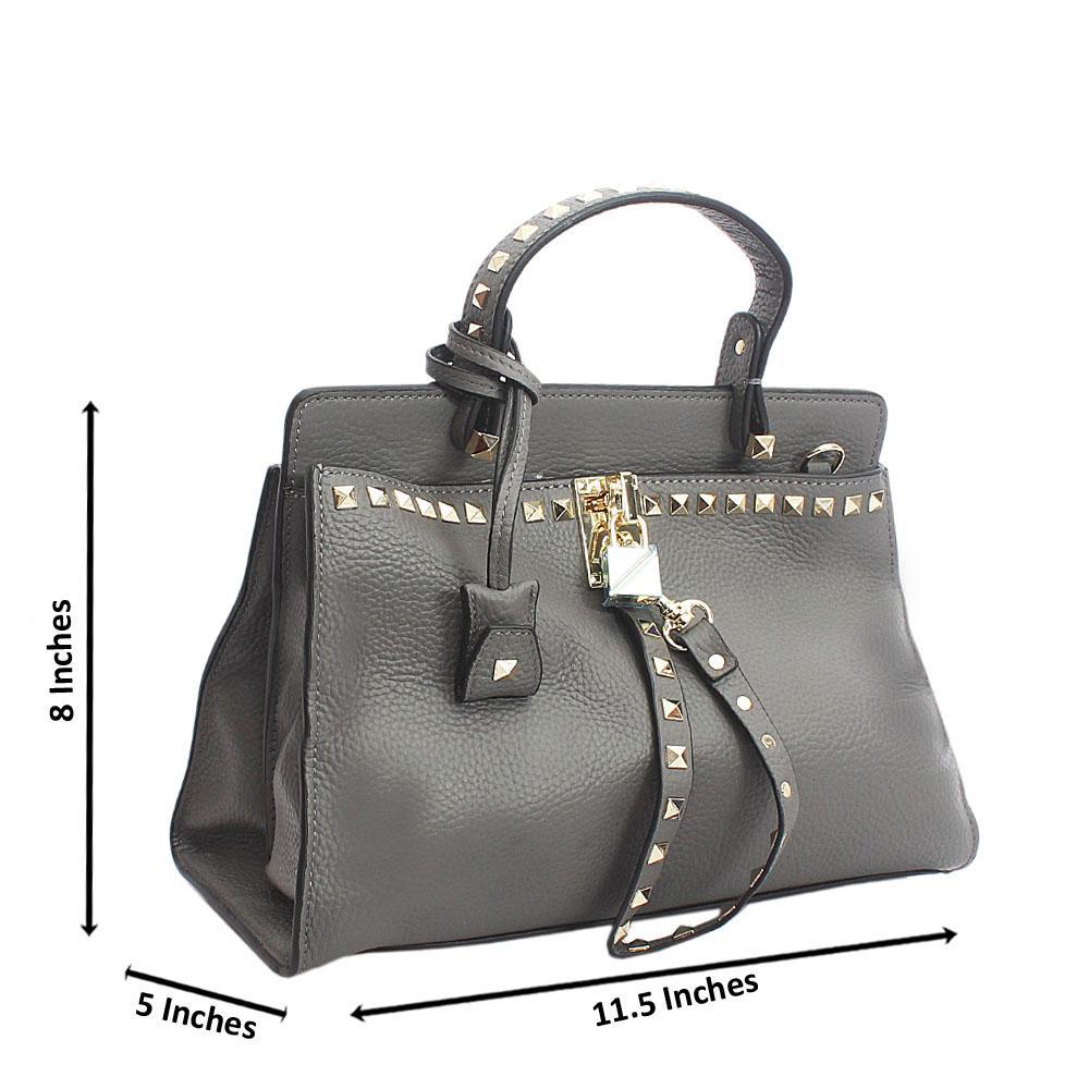 Cute Grey Rock Stud Tuscany Leather Top Handle Handbag