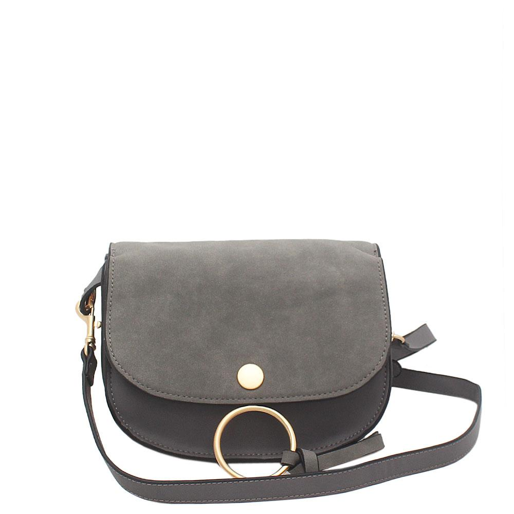 London Style Grey Leather Mini Cross body Bag