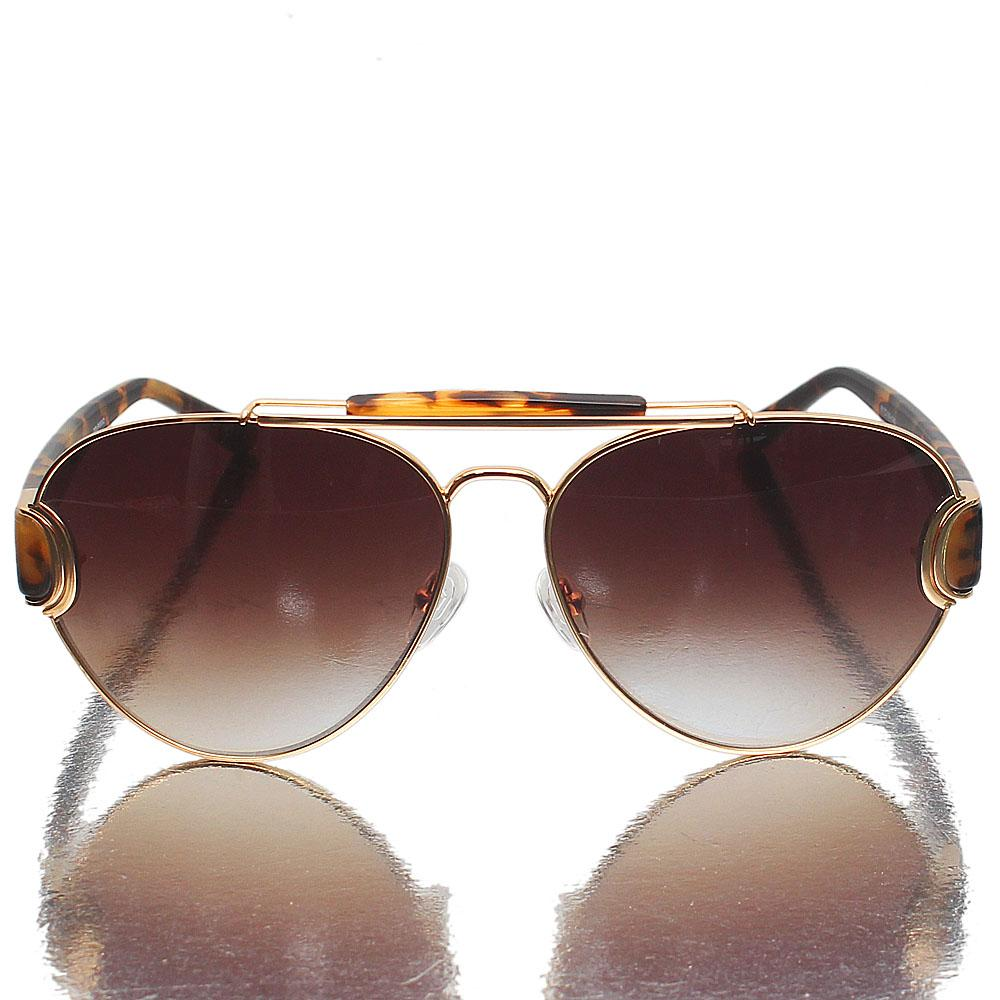 Gold Brown Aviator Brown Lens Sunglasses