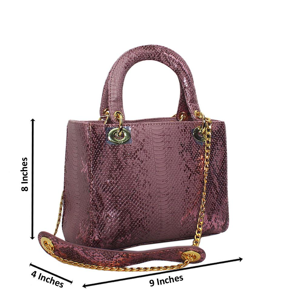 Lilac Foxie Brown Croc Leather Small Tote Handbag