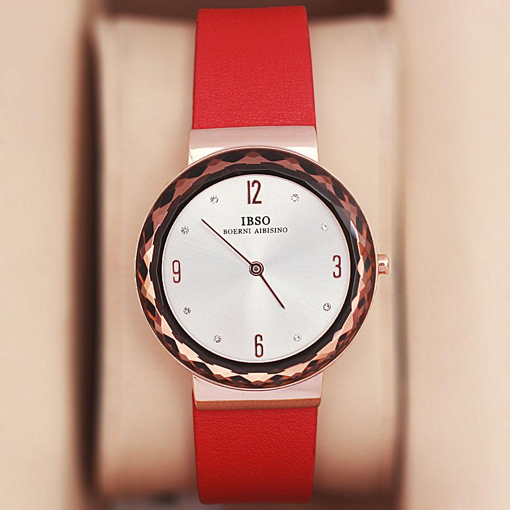 OldSkul Red Leather Ladies Flat Watch