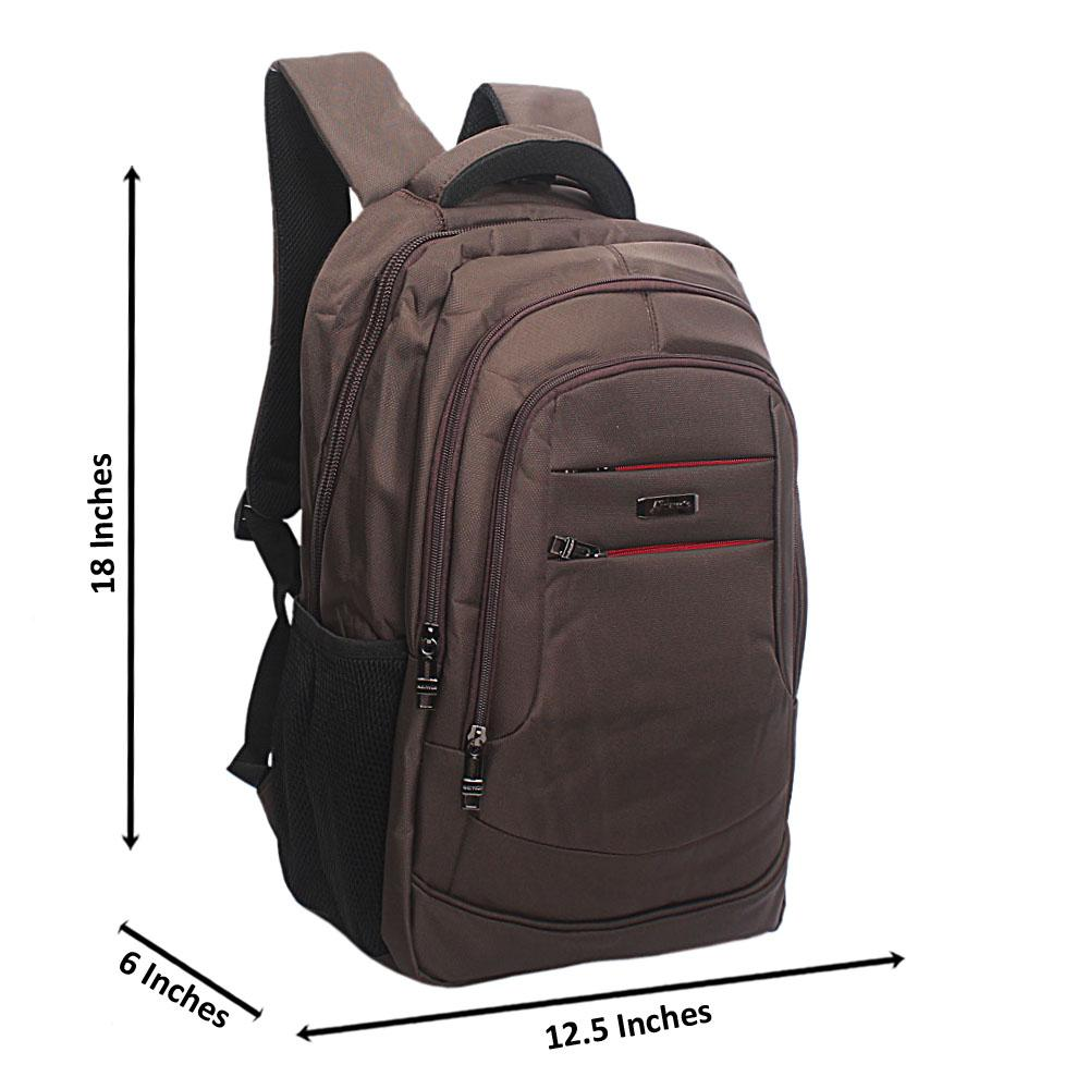 Coffee Lateral Double Zip Backpack
