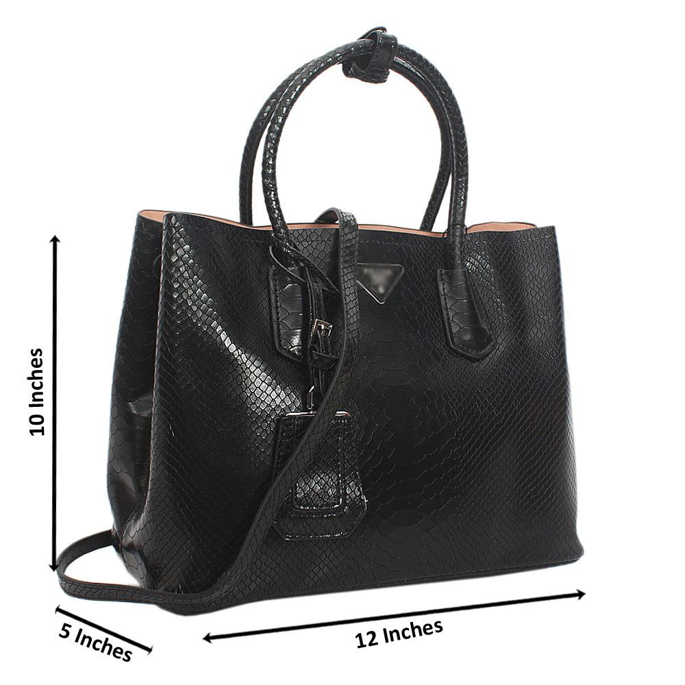 Black Monochrome Croc Cowhide Leather Tote  Handbag