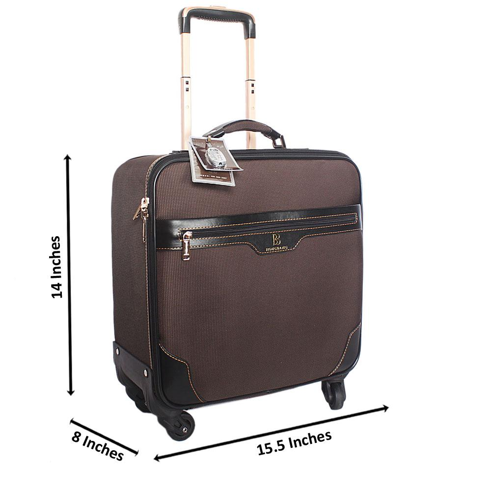 Brown Cordura  Fabric 14 Inch Pilot Suitcase Wt Padlock