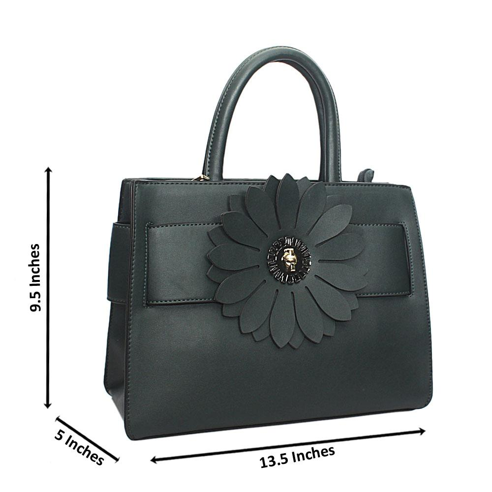 Green Susen Floral Broch Leather Handbag