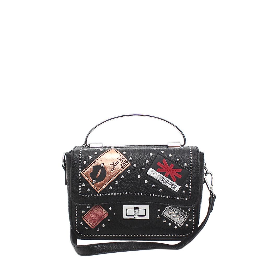 Black Leather Small Crossbody Bag