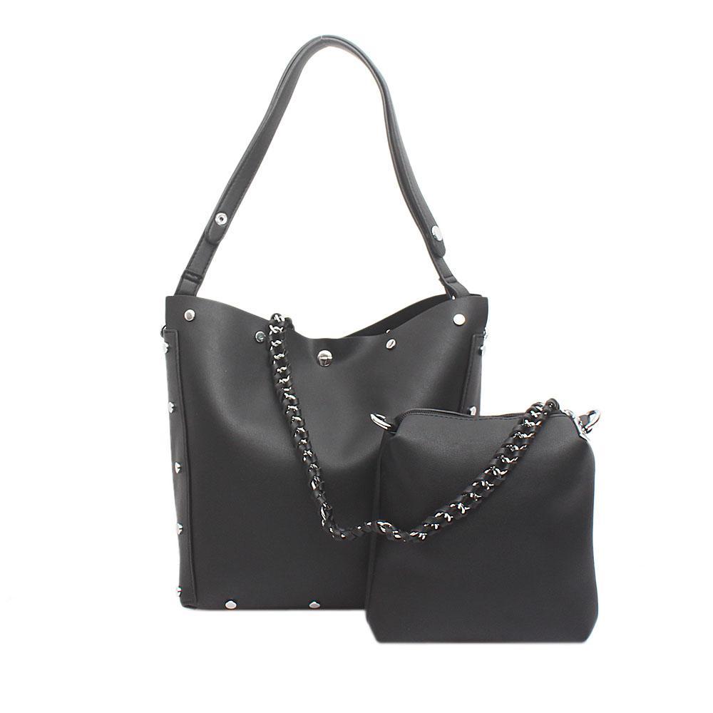 London Style Black Leather Shoulder Bag Wt Purse