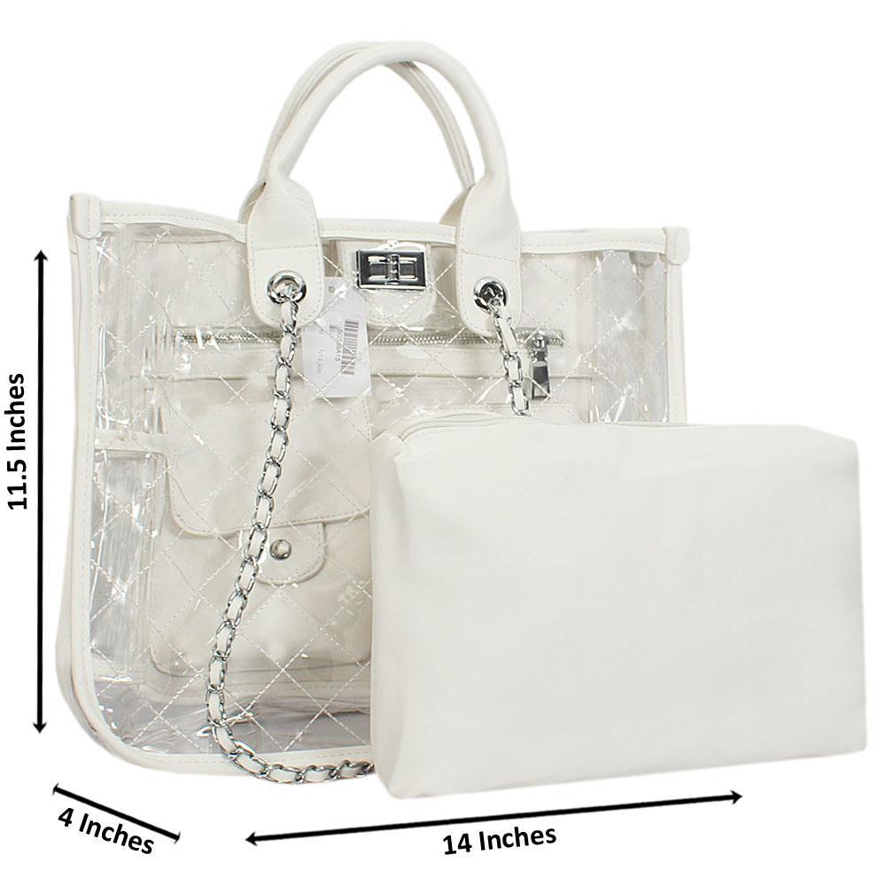 White Morgan Transparent Rubber Leather Tote Handbag
