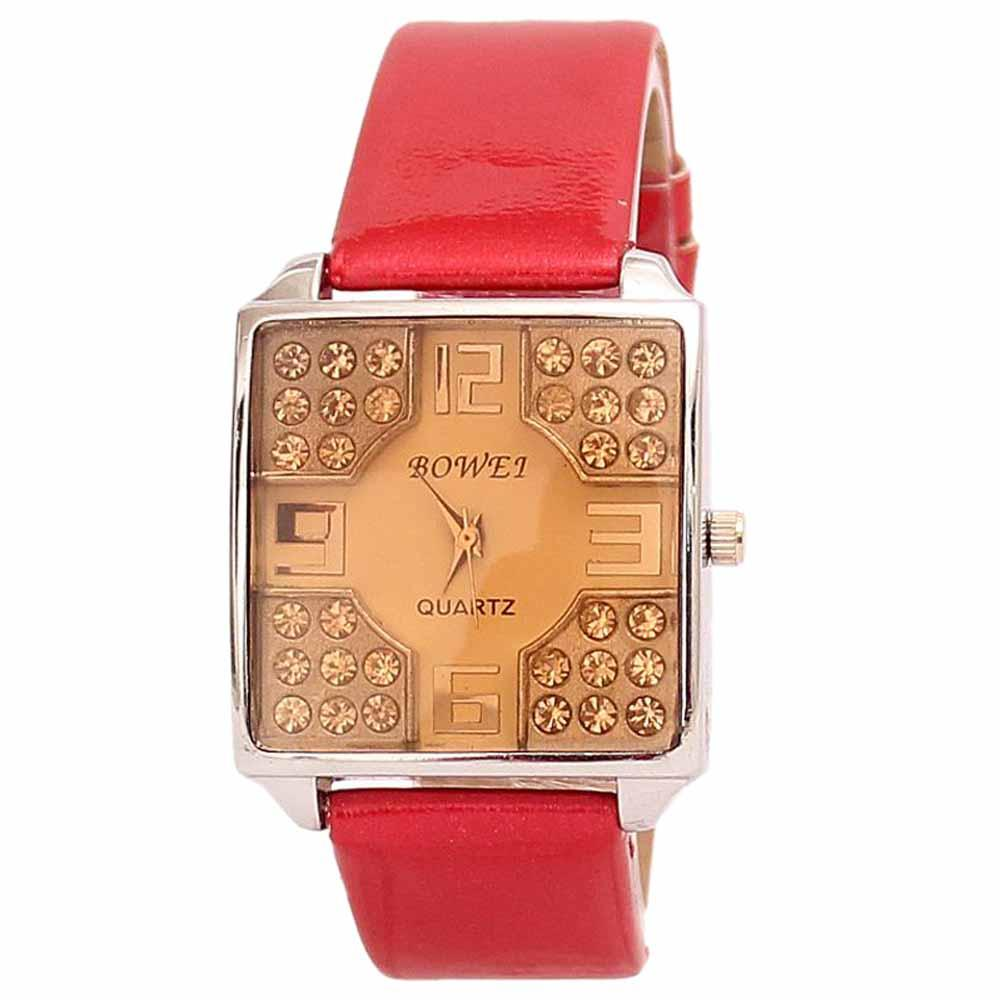 Bowei Red Leather Ladies Watch