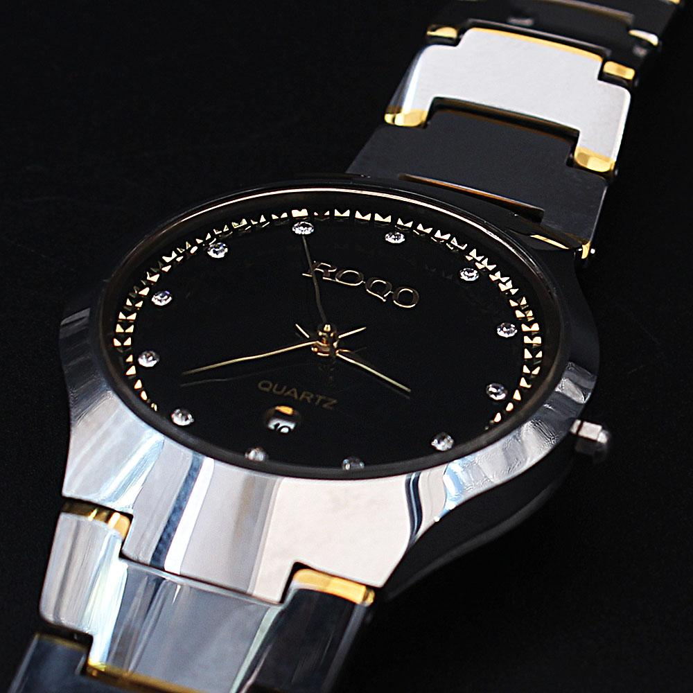 Shanghai Azari Black Face Steel Gold Tone Ceramic Watch